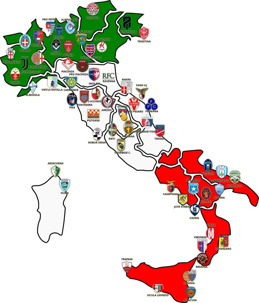Cartina Italia Catania.Cartina Italia Lega Pro